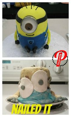 The baker of this minion cake, which actually looks like Homer Simpson becoming Alex Mack: