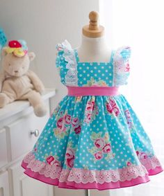 Ms Evelyn Girls Boutique Dress at Kinder Kouture Clothing. Baby Frocks Designs, Kids Frocks Design, Baby Dress Design, Frock Design, Frocks For Girls, Little Girl Dresses, Cute Little Girls Outfits, Kids Outfits, Baby Girl Dress Patterns