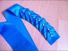 Ribbon art.Ribbon lace.Beaded ribbon manipulation no 6 Jesy Azalia Designs - YouTube
