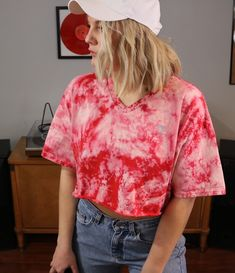 8013bcff Custom Cropped Red Bleached Champion Shirt. Distressed. Edgy. Grunge.  Grungy 90s style