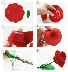diy felt rose // by melimelum Felt Roses, Felt Flowers, Paper Flowers, Diy Hair Bows, Diy Bow, Good Tutorials, Felt Diy, Flower Making, Diy Tutorial
