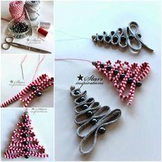 DIY Easy Ribbon Bead Christmas Tree Ornament by lana