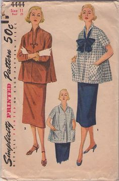 MOMSPatterns Vintage Sewing Patterns - Simplicity 4444 Vintage 50's Sewing Pattern CLASSIC Modest Lucy Maternity Flared Smock Top Blouse, Sheath Skirt, 2 Piece Suit Dress