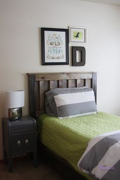 Guest room? Love the Katie daisy print and the letter behind the bed