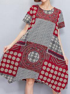 Étnico Estampado Irregular Dobladillo de Corta Manga Retro Vestido