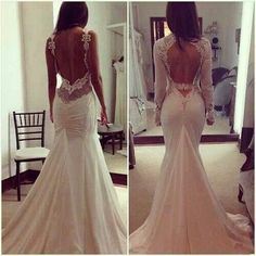 love the detailing of these open back backless and large keyhole style wedding dresses lace and beading beaded accents embellishments one with long sleeves