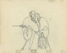 Disney - 101 Dalmatians - Marc Davis - Original drawing of Cruella