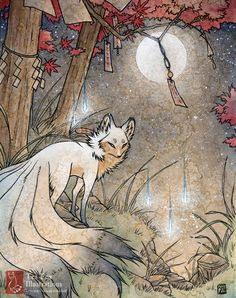 Fox et feux follets / esprit de Kitsune renard Yokai / Japanese Style Art / 11 x 14 impression Poster Wall Decor