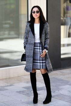 The Check Coat, Oasis collaboration, Hattie Check Skirt, Scatter Sequin Jumper, plaid on plaid, street style, fall coat, check coat, plaid coat, dress for work, holiday style, Stuart Weitzman Demiswoon Over-the-Knee Wedge Boot, Chanel boy bag, KLASSE 14 watch, Dior so real sunglasses, black and white
