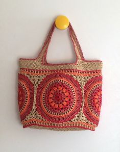 Best Picture of Crochet Raffia Bag Pattern Crochet Raffia Bag Pattern Paper Raffia Mandala Bag Bag Crochet, Crochet Shell Stitch, Crochet Handbags, Crochet Purses, Love Crochet, Crochet Stitches, Crochet Baby, Crochet Patterns, Quick Crochet