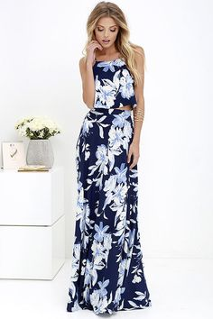 The island life is waiting for you and the Love for Lanai Navy Blue Floral Print Two-Piece Maxi Dress to arrive!