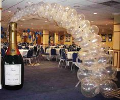 6 foot inflatable champagne bottle with balloon bubbles flowing from bottle to create an unforgetable balloon arch.s eve party, wedding reception, birthday party or gala celebration. Champagne Balloons, Clear Balloons, Wedding Balloons, Anniversary Party Favors, 65th Anniversary, Disco Party, Wine Charms, Balloon Arch, Balloon Decorations