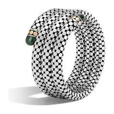 John Hardy Batu Dot Gold & Silver Malachite Triple Coil Bracelet ($1,995) ❤ liked on Polyvore featuring jewelry, bracelets, 18 karat gold bangles, polish jewelry, silver bangles, silver jewelry and gold bangles