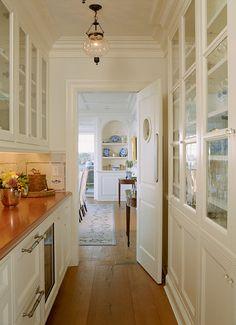Stunning Classic Modern Interior Design in a Big Family House : Narrow Galley Kitchen Wooden Floor Minimalist Interior Design Ideas