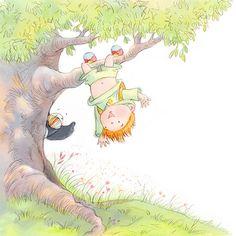 Boy climbing tree. Lyn A. Stone