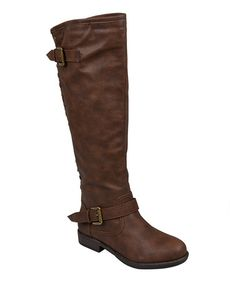 Look what I found on #zulily! Brown Stud Spokane Wide-Calf Boot by Journee Collection #zulilyfinds