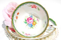 Antique English Tea Cup and Saucer. Fine Bone China by EcoIdeology