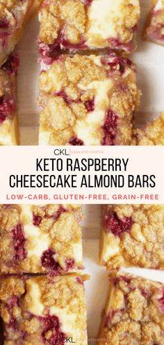 These Keto Raspberry Cheesecake Bars are going to be your new favorite keto dessert! They are a keto, low-carb, grain-free, gluten-free treat made to share with family and friends. Raspberry Cheesecake Bars, Oreo Cheesecake, Keto Recipes, Cooking Recipes, Cake Recipes, Almond Bars, Chocolate Chip Recipes, Chocolate Chips, Low Carb Sweets