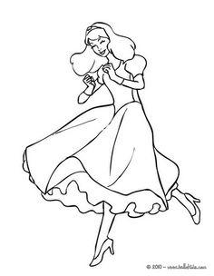 Princess dancing coloring page