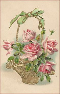 Vintage Pink Rose Basket Free Printable.