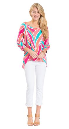 This colorful top has gorgeous gold buttons all down the back... such a fun detail!
