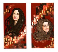 portrait of two sisters (acryl, pastel, gold paste on canvas) by Edl Art Mona Lisa, Disney Characters, Fictional Characters, Aurora Sleeping Beauty, Sisters, Pastel, Disney Princess, Portrait, Canvas