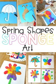 Check out this spring shapes sponge art hands-on activity for children with a few simple materials. Create a beautiful spring display for your classroom and home from sponge painting different shapes! #springactivities #springart #springcrafts #craftsforkids #artforkids