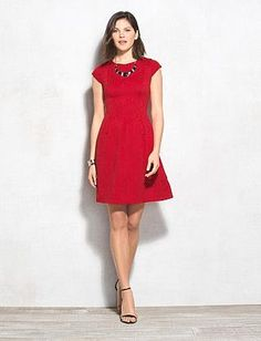 Misses | Dresses | Fit & Flare Dresses | Textured Fit-and-Flare Dress