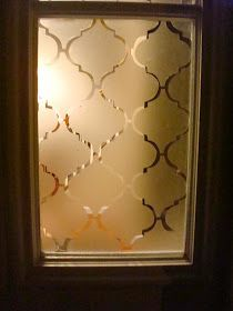 """""""Frosted"""" Privacy Window Tutorial - made using contact paper & a stencil. This is a great alternative to curtains - it can be removed & it is inexpensive."""