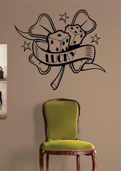 Lucky Four Leaf Clover Dice Tattoo Vegas Design Decal Sticker Wall Vinyl Decor Art