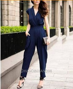 Fashion Casual Womens V-neck Overall Rompers Jumpsuit Wide-leg Pants Trousers