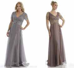 Plus Size Cheap Groom Dress Mother of the Bride Dresses With Short Sleeves 2015 Suits Evening Gowns Gray Long V Neck Chiffon Crystals