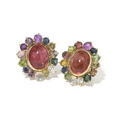 14K yellow gold, Pink Tourmaline Mosaic Earrings with tourmaline, sapphire, rainbow moonstone, mali garnet, iolite, chrome tourmaline, and rubellite. One-of-a-kind!