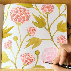 Painting in my hand•book watercolor journal this morning. Happy Sunday, everyone! The sun is shining, the birds are chirping, and this is a great start to what is sure to be a lovely day! #painting #watercolor #handbookwatercolorjournal #makingitupasigo #workinprogress #pattern #floral #flowers #illustratorinminneapolis
