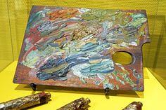 Vincent van Gogh's palette at the Van Gogh Museum in Amsterdam, Netherlands