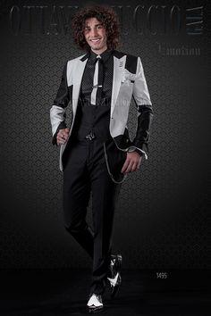 White and black patchwork jacket with black pants info@ottavionuccio.com
