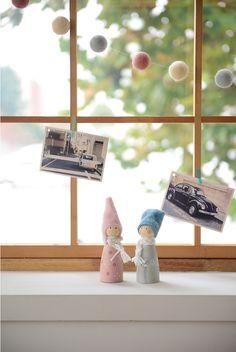 [바보사랑] 목각인형도 커플이로구나 /크리스마스/인테리어/인테리어소품/인형/우드/귀여운/장식소품/털모자/커플