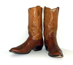 Vintage Brown leather and lizard  cowboy by honeyblossomstudio, $63.99