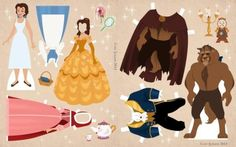 Beauty And The Beast Dress Up Paper Dolls - by Cory Jensen      ==      In honor of Disney's Beauty and the Beast in 3D coming to theaters this Friday, here are some paper dolls! - Cory Jensen