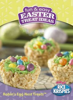 Make this fun and easy Easter treat with the help of your little birdies! You and your kids will love the simple creativity that goes into decorating these. What a treat! Ingredients: 6 cups Kellogg's Rice Krispies cereal, 3 tbsp Butter or margarine, 2 drops Food coloring, green, 1/2 cup Coconut, flaked, 1 Chocolate eggs,1 Jelly beans, 4 cups Jet-puffed marshmallows, Miniature,1 Jet-puffed marshmallows, Miniature,1/4 tsp Water,1 package (10 oz., about 40) jet-puffed marshmallows