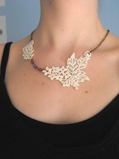 Ivory Lace Necklace by CraftyLittleGnome on Etsy, $35.00