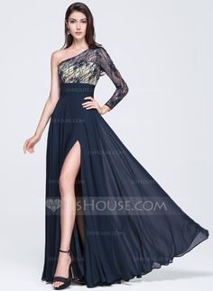 Vestidos princesa/ Formato A Um ombro Longos De chiffon Vestido de baile com Pregueado Bordado Lantejoulas Frente aberta (018070358) - JJsHouse