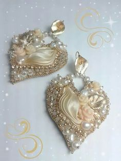 Cream earrings Shibory earrings by Eliana Maniero Jewels