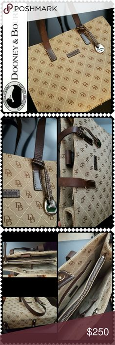 Dooney and Bourke Shoulder Bag Dooney & Bourke Signature Purse in Tan Canvas with Brown Leather Handles and Trimming! Features the Iconic Dooney And Bourke Logo Print with Silver Tone Hardware!   Snap Button Top Closure Opens top 2 Separate Compartments with One Zipped Mid Compartment, Side Interior Has Separate Zip and Slip Pockets, Approx Size 13.5Wx10Hx4D inches, Exterior in Mint Condition and Minor Interior Wear, Great Dooney Collection! Dooney & Bourke Bags