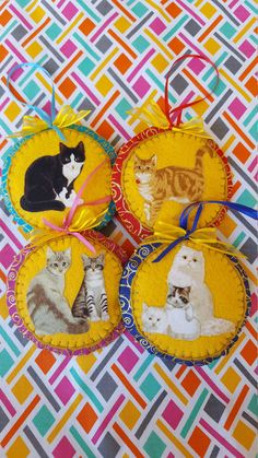 Cat felt and fabric ornament-Handmade Cat by DebsArtsyEnchantment