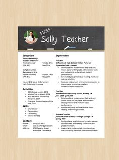 Elementary School Teacher Resume   Pinterest   Sample resume  Resume     Elementary School Teacher Resume   Cover Letter   Modern Resume Template    Instant Download   Microsoft Word DocX and Doc Format
