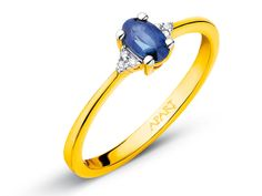 Pierścionek z żółtego złota z diamentami i szafirem | Apart
