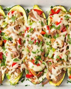 PHILLY CHEESESTEAK ZUCCHINI BOATS | 20 Zucchini Recipes   Nutrition: 238 calories, 13.8 g fat, 226 mg sodium, 8.9 g carbs, 2.6 g fiber, 4.6 g sugar, 21 g protein