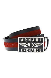 af7408a36d21 Armani Exchange xo · Suede Stripe Logo Belt Online Clothing Stores, Men s  Accessories, Men And Women, Belts
