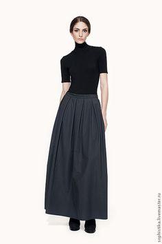Юбки ручной работы. Ярмарка Мастеров - ручная работа. Купить юбка-макси универсальная. Handmade. Темно-серый, пышная юбка